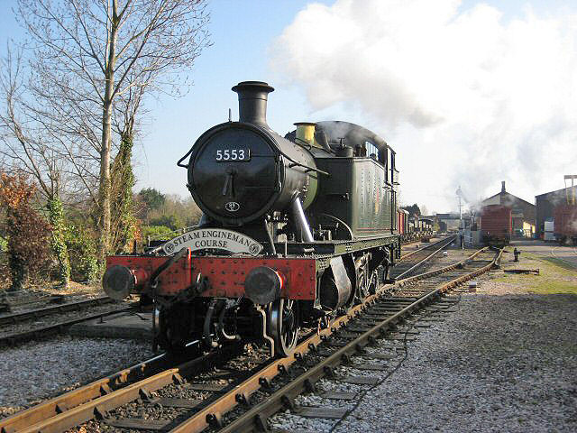 2011 - GWR 2T No. 5553 running round at Williton on 4 March. This work is licenced under a Creative Commons Licence. © Paul Orrells