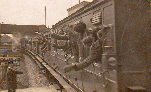 1914 - A crowded train leaves Williton for Taunton durng September. Photographed and published by H.H.Hole. c/o Geff Clatworthy.