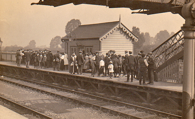 1914 - A large crowd on Platform 2 of Williton Station on 5 September. Photographed and published by H.H.Hole co Geoff Clatworthy.