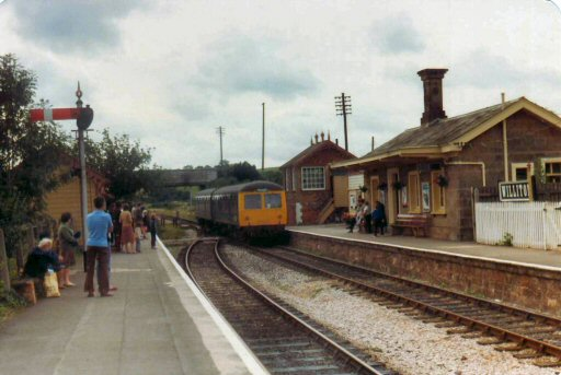 1982 - Cravens 2 car DMU arriving at Williton. This work is licenced under a Creative Commons Licence. © Brian Hart