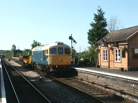 2003 - Class 33 No.D6566 on engineers train at Williton on 24 June. This work is licenced under a Creative Commons Licence. © Peter Darke