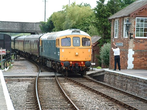 2003 - Class 33 No. D6566 hauls the Quantock Belle at Williton on 22 June. This work is licenced under a Creative Commons Licence. © Kevin Weston
