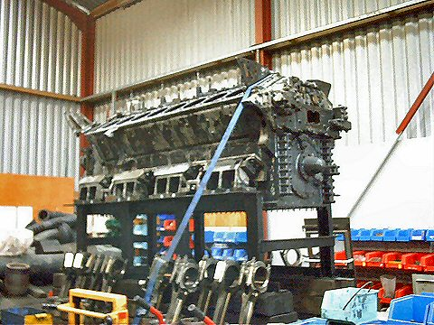 "2003 - Engine block of Class 35 ""Hymek"" D7018 at Williton on 8 November. This work is licenced under a Creative Commons Licence. © Jon Tooke"