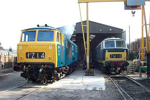 "2003 - Class 35 ""Hymek"" Nos. D7017 and D7018 at Williton on 21 September. This work is licenced under a Creative Commons Licence. ©Mike Randall"