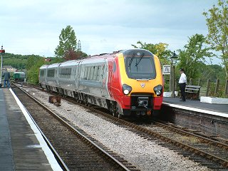 2003 - Class 220 Voyager No. 220001 arriving at Williton on 11 May. This work is licenced under a Creative Commons Licence. © Stephen Edge