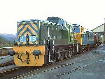 2004 - A line-up of diesel hydraulics - D9526, D7017 and D7018 - seen at Williton on 25 January. This work is licenced under a Creative Commons Licence. © Jon Tooke