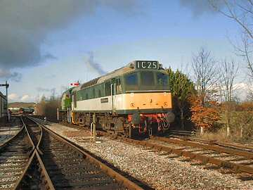 2004 - Class 14 No. 9526 and Class 25 No. 7523 running round at Williton during load testing and driver training. 7 February. This work is licenced under a Creative Commons Licence. © Jon Tooke