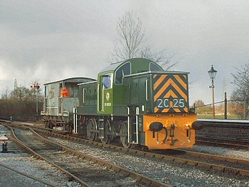 2004 - Class 14 No. D9526 shunts the WSRA brake van at Williton on 28 February. This work is licenced under a Creative Commons Licence. © Jon Tooke