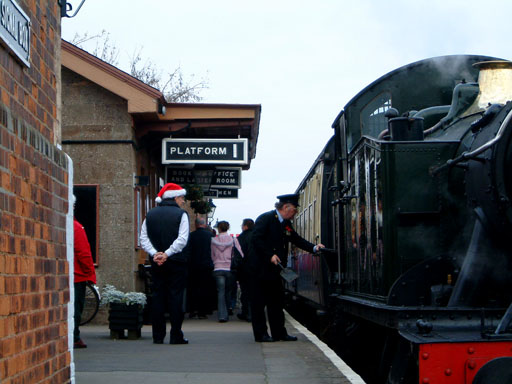 2004 - GWR 2-6-2T No. 5542 arrives with a Santa Special at Williton on 11 December. © Mike Dan