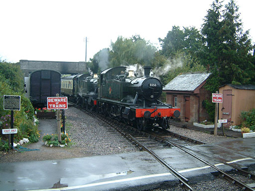 2004 - GWR 2-6-2T Nos. 5553 and 5542 at Williton on 3 October. © Mike Dan