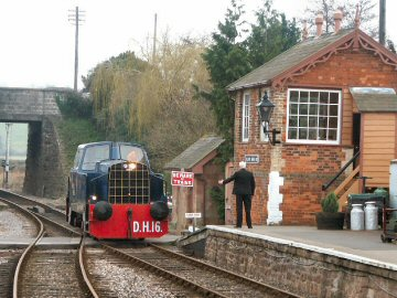004 - Sentinel No. DH16 made a solo trip from Bishops Lydeard and is seen entering Williton, the home base of the little diesel shunter on 21 February. This work is licenced under a Creative Commons Licence. © Peter Darke