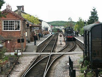 2004 - View of Williton from GWR 2-6-2T No. 5542 - BR Standard Class 4 2-6-4T No. 80136 waits in the up platform on 5 May. This work is licenced under a Creative Commons Licence. © Peter Darke