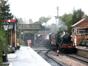 2004 - WSR 2-6-0 No. 9351 arrives at Williton with the goods train on 23 October. This work is licenced under a Creative Commons Licence. © Peter Darke