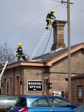 2005 - A fire in the celebrated Bristol and Exeter Railway chimney at Williton Station on 28 March drew the attendance of the local fire brigade. This work is licenced under a Creative Commons Licence. © Rachel Coleby