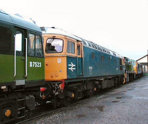 2005 - An impressive lineup of diesel locomotives at Williton on 3 December. This work is licenced under a Creative Commons Licence. © Jon Tooke