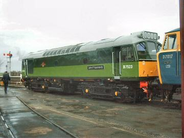 2005 - Class 25 No. D7523 at Williton with Hymek D7017 on 15 January. This work is licenced under a Creative Commons Licence. © Jon Tooke