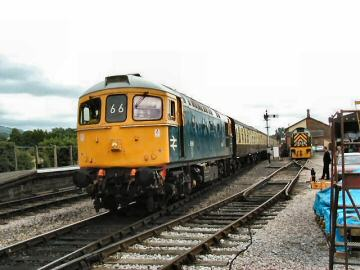 2005 - Crompton class 33 No. D6566 heading a Minehead-bound train pauses at Williton on 23 July. This work is licenced under a Creative Commons Licence. © Jon Tooke