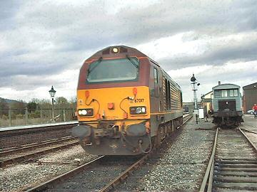 2005 - EWS Class 67 No. 67017 followed the special to Minehead and later hauled the return excursion - seen at Williton on 5 March. This work is licenced under a Creative Commons Licence. © Jon Tooke