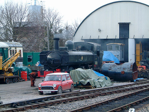 2005 - GWR 0-6-0 No. 6412 in Williton Yard on 9 February. © Mike Dan