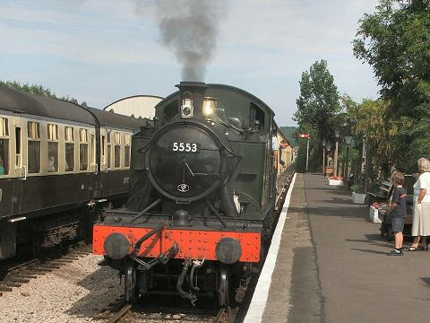 2005 - GWR 2-6-2T No. 5553 arrives at Williton with the 10.15 ex-Minehead on 11 August. This work is licenced under a Creative Commons Licence. © Fotophile69