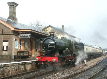 2005 - GWR 4-4-0 No. 3440 City of Truro at Williton on 16 March. This work is licenced under a Creative Commons Licence. © Peter Darke