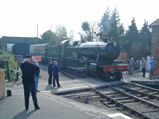 GWR 4-4-0 No.3400 City of Truro arriving at Williton on 19 March. © Mike Dan