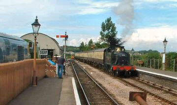 2005 - GWR 2-6-2T No. 5553 arriving at Williton on 31 July. This work is licenced under a Creative Commons Licence. © Steve Huddy
