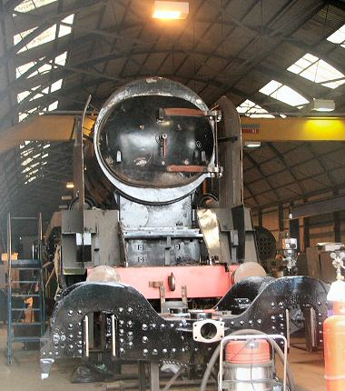 2005 - SR 4-6-2 No. 34046 Braunton slowly taking shape at Williton Shed on 18 September. This work is licenced under a Creative Commons Licence. © Fotophile69