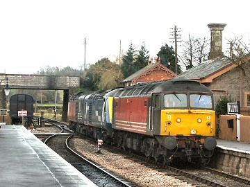 2005 - Two more power cars for storage at Minehead, Nos. 43198 and 43094, arrive at Williton behind Class 47 No. 47841 on 1 March. This work is licenced under a Creative Commons Licence. © Peter Darke
