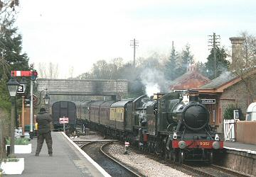 2005 - WSR 2-6-0 No. 9351 and GWR 4-6-0 No. 5051 Earl Bathurst at Williton on 5 March. This work is licenced under a Creative Commons Licence. © Peter Darke