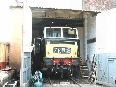 2006 - The much missed Hymek D7018 peeping out of the shed at Williton - seen on 15 July. This work is licenced under a Creative Commons Licence. © Jon Tooke