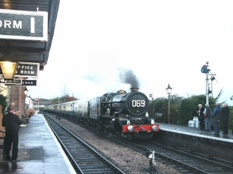 2006 - GWR 4-6-0 No. 6024 at Williton with the 6.59am Minehead to London Paddington on 18 November. This work is licenced under a Creative Commons Licence. © Peter Darke