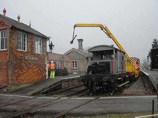 2006 - Installing new station lighting at Williton on 24 February. © Mike Dan