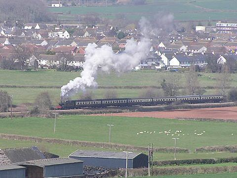 2006 - GWR 2-6-2T No. 5553 leaving Williton and passing Torweston Farm - viewed from Luckes Lane on 9 April. This work is licenced under a Creative Commons Licence. © Martin Southwood