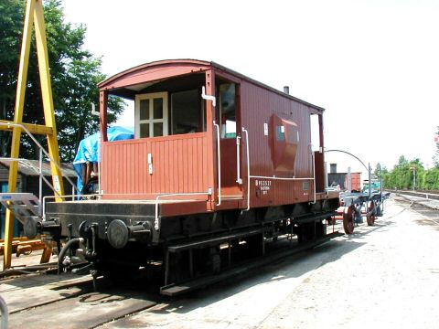 2006 - The 20 ton brake van and the 7 plank wagon - recently been shot-blasted and primed - have been moved from the North Yard to the South Yard - seen on 1 July. This work is licenced under a Creative Commons Licence. © Jon Tooke