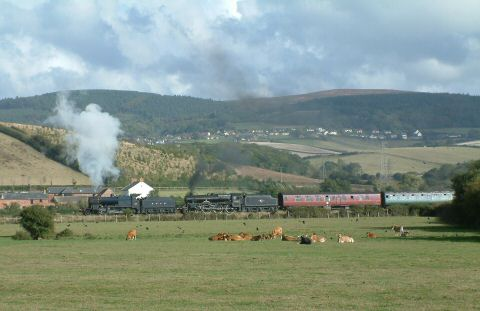 2006 - The Cathedrals Express - 7.40am London Victoria-Minehead - headed by SDJR 2-8-0 No. 88 and LMS 4-6-0 No. 45231 head away from Williton on 30 September. This work is licenced under a Creative Commons Licence. © Stephen Edge