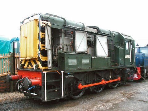 2006 - The class 08 shunter , D3462, is seen at Williton with the side doors open to gain access to the troublesome fuel pump and injectors on 25 November. This work is licenced under a Creative Commons Licence. © Jon Tooke