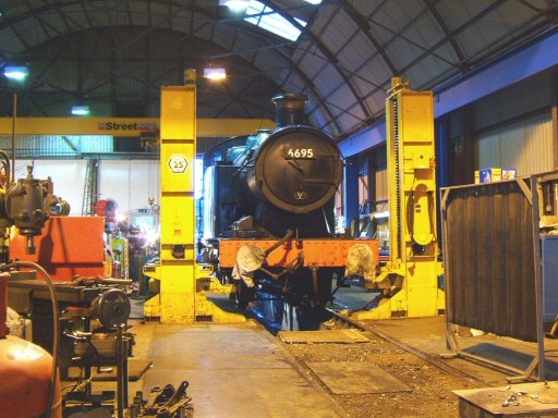 2007 - A view inside the Swindon Shed at Williton showing GWR 0-6-2T no 6695 on 1 November. This work is licenced under a Creative Commons Licence. © Ian Grady