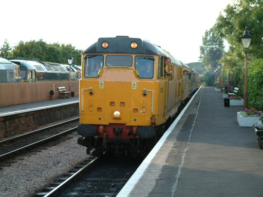 2007 - After running the length of the Branch, the returning ultrasonic test train, headed by Class 31 no 31602 arrives at Williton on 3 July. This work is licenced under a Creative Commons Licence. © Andy Spencer