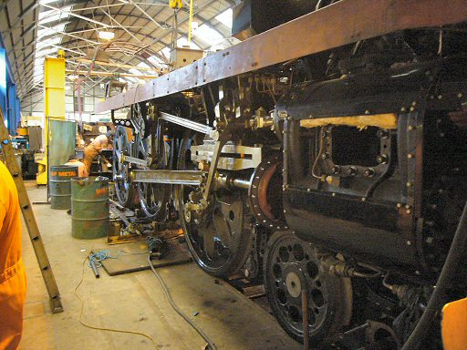 2007 - All the wheels are now in place on SR 4-6-2 no 34046 Braunton at Williton 16 January. This work is licenced under a Creative Commons Licence. © JA