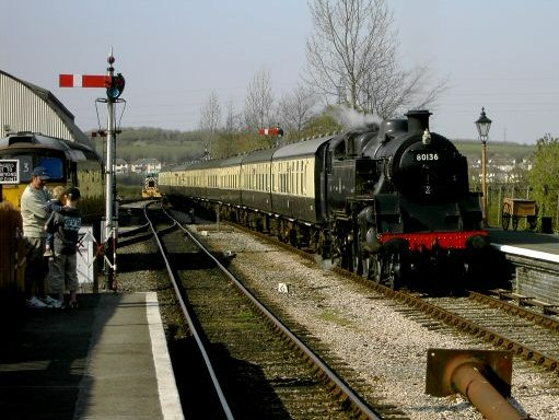 2007 - BR Standard Class 4 2-6-4T No. 80136 enters Williton Station on 8 April. This work is licenced under a Creative Commons Licence. © Ian Monkton