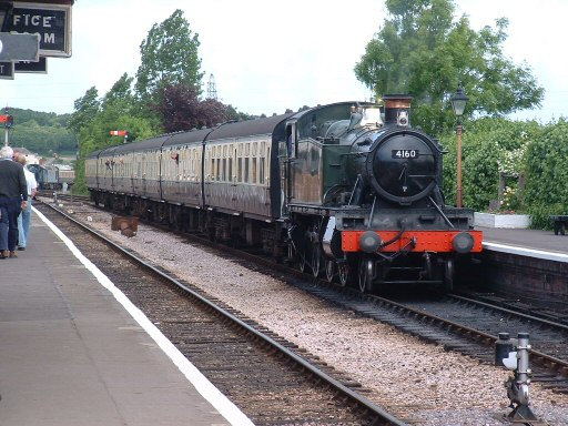 2007 - BR(W) 2-6-2T No. 4160 arrives at Williton with the 2.05pm ex-Minehead on 19 May. This work is licenced under a Creative Commons Licence. © Andy Spencer