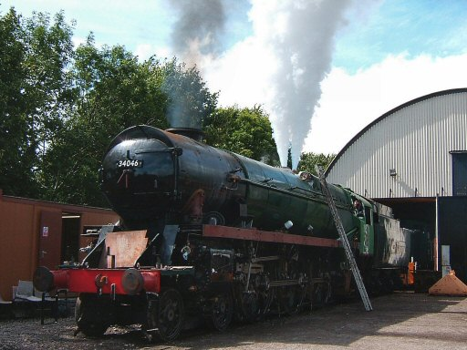 2007 - Both safety valves are tested - SR 4-6-2 No, 34046 Braunton outside the Swindon Shed at Williton during its steam test on 25 July. This work is licenced under a Creative Commons Licence. © Ian Grady