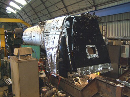 2007 - Cladding being applied to the boiler of SR 4-6-2 No. 34046 Braunton at Williton on 21 February. This work is licenced under a Creative Commons Licence. © Ian Grady