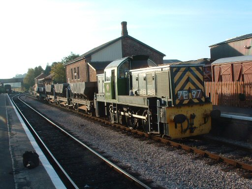 2007 - Class 14 No. D9526 at Williton with ballast wagons bound for Dunster on 3 November. This work is licenced under a Creative Commons Licence. © Terry Deacon