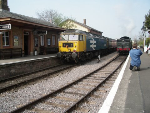 2007 - Class 47 No. 47847 at the rear of the tour from the North West to Minehead at Williton on 14 April. This work is licenced under a Creative Commons Licence. © Aaron Manley