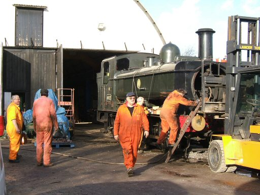 2007 - GWR 0-6-0PT No. 6412 at Williton for routine maintenance during January. This work is licenced under a Creative Commons Licence. © Ian Grady