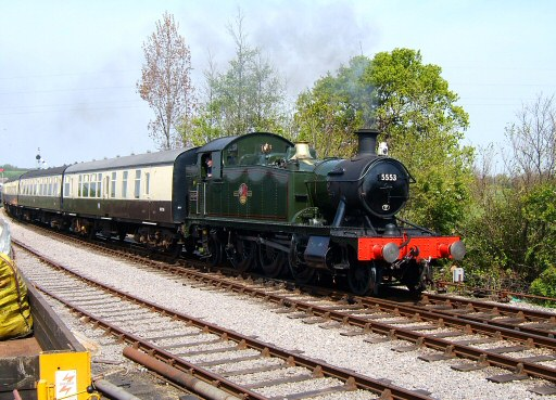 2007 - GWR 2-6-2T No. 5553 arrives at Williton on 22 April. This work is licenced under a Creative Commons Licence. © Ian Grady