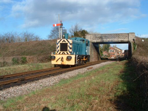 2007 - Just south of Williton Bridge, Class 03 No. 03113 sets off for Bishops Lydeard on 3 March. This work is licenced under a Creative Commons Licence. © Terry Deacon