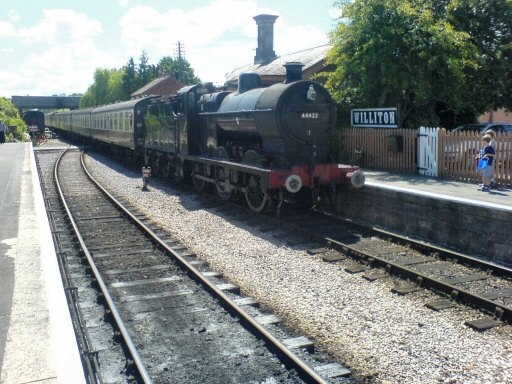 2007 - LMS 0-6-0 No. 44422 arriving at Williton on 30 July. This work is licenced under a Creative Commons Licence. © Aaron Manley